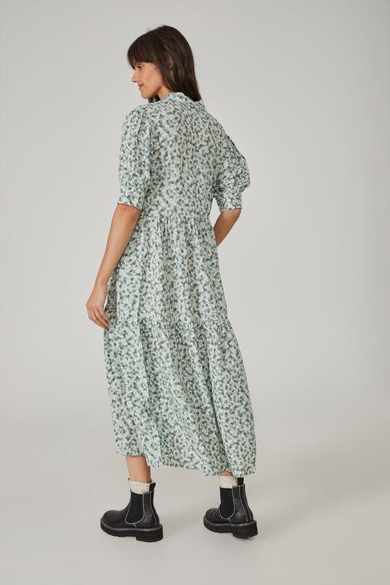 Vineyard Tiered Shirt Dress, PALE GREEN FLORAL