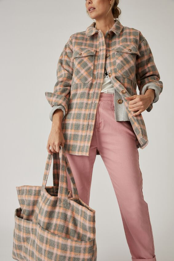 Pocket Tote Bag, GREY/ORANGE/PINK CHECK