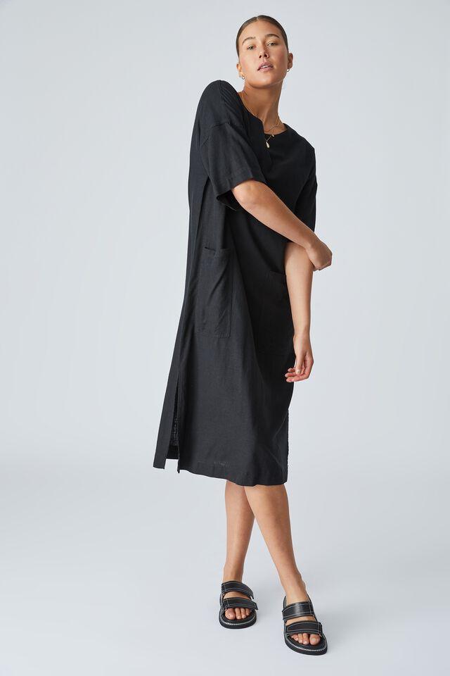 Linen Blend Midi Pocket Dress, BLACK