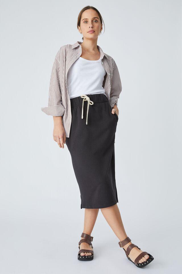 Organic Midi Tube Skirt In Organic Cotton, BLACK