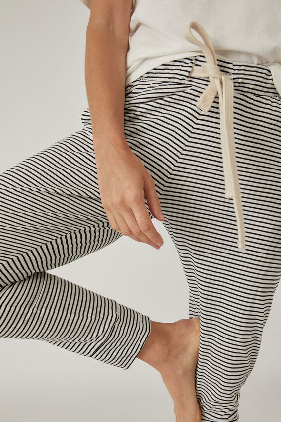 Organic Jersey Pant, MINI BLACK WHITE STRIPE