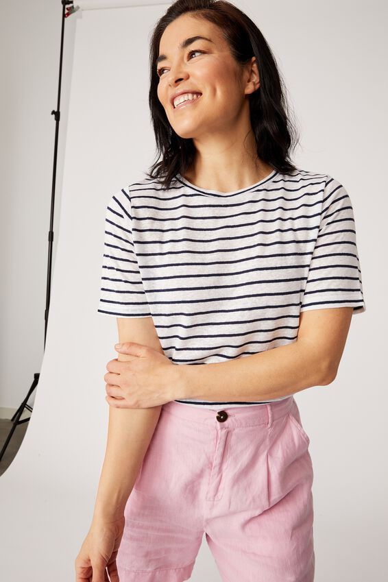 Linen Weekend Tee, WHITE/NAVY STRIPE