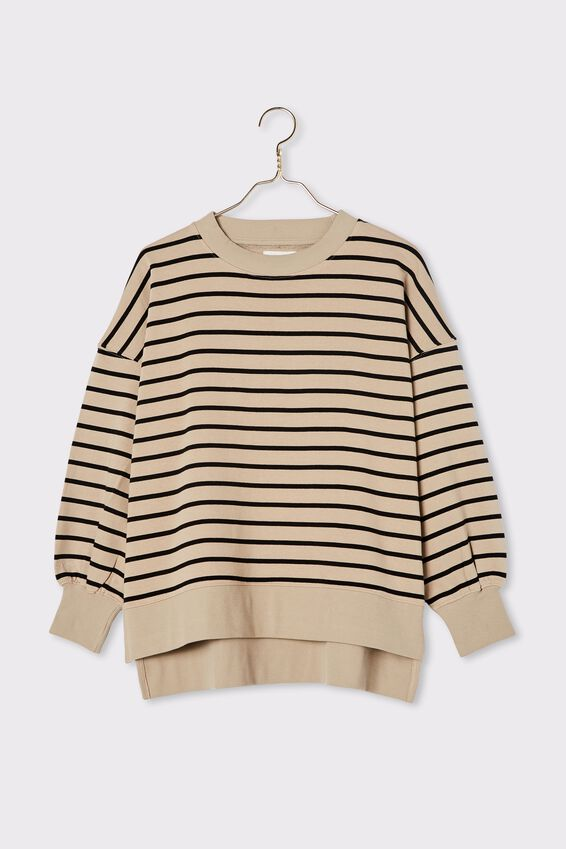 Organic Serendipity Sweat, WIDE PEBBLE BLACK STRIPE