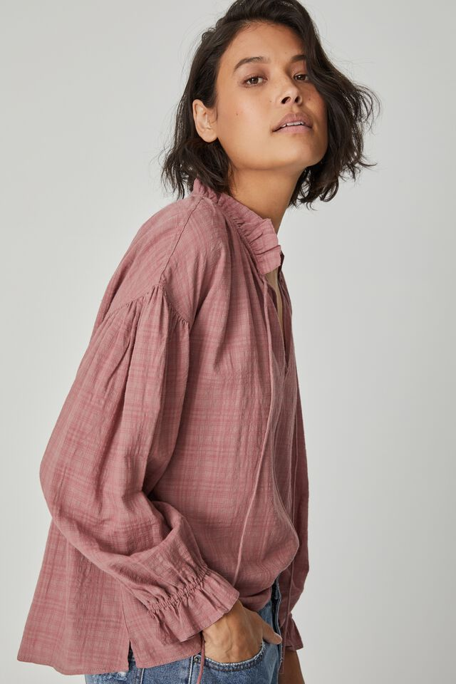 Long Sleeve Ruffle Neck Tunic, WINTER ROSE