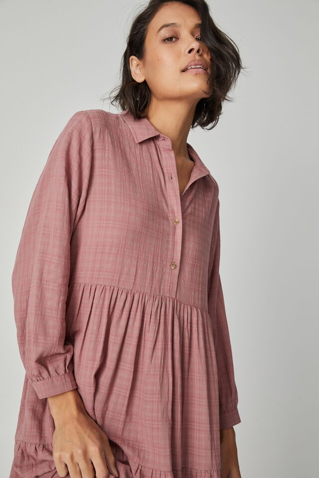 Tiered Shirt Dress With Slip, WINTER ROSE