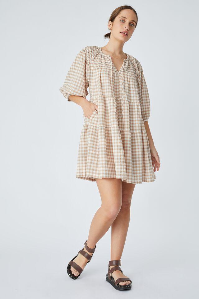 Shirred Puff Sleeve Mini Dress In Organic Gingham, SESAME WHITE CHECK