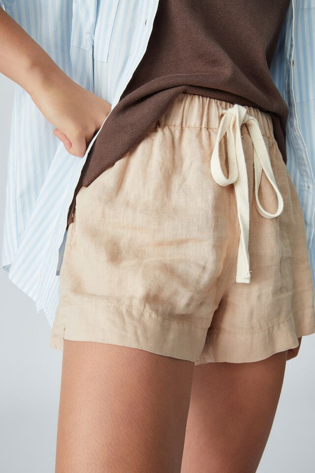 Linen Short, LIGHT CAMEL