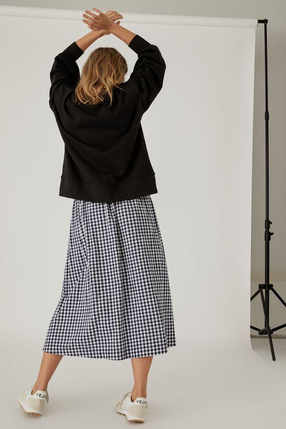 Florence Skirt, NAVY GINGHAM