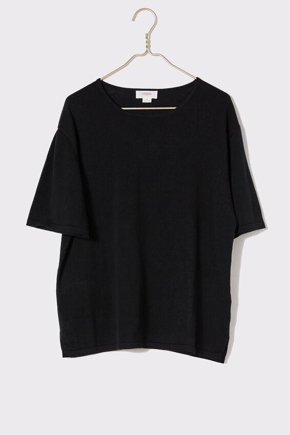 Organic Cotton Boxy Knit Tee, BLACK
