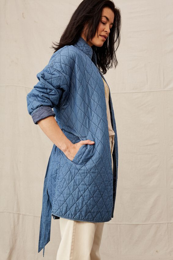 Quilted Longline Jacket, CHAMBRAY