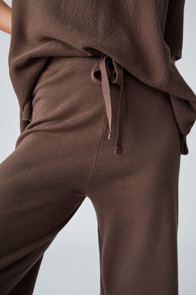 Organic Cotton Crop Knit Pant, BITTER CHOCOLATE