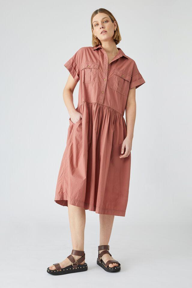 Organic Drop Waist Shirt Dress, RUST