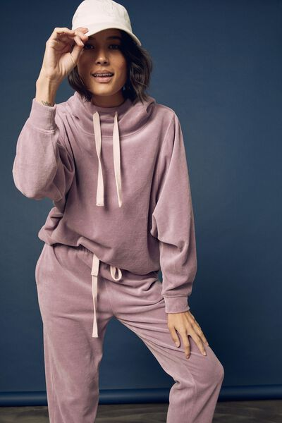 Velour Hooded Sweater, MAUVE SHADOW