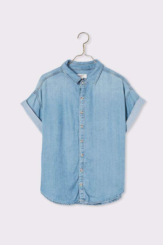 Harvest Short Sleeve Shirt, MID WASH