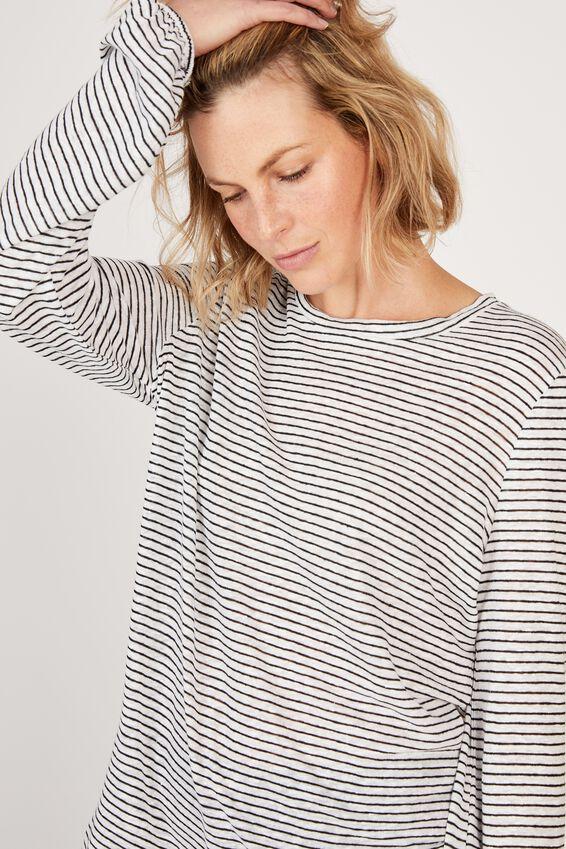 Linen Bell Sleeve Tee, WHITE/BLACK STRIPE