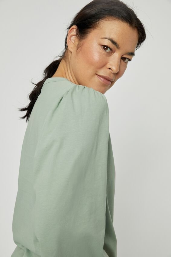 Organic Gathered Bell Sleeve Tee, SMOKE GREEN