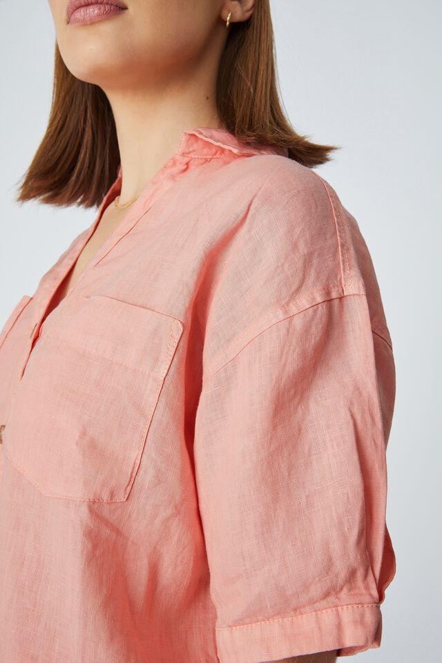 Linen Relaxed Ss Shirt, CORAL CLOUD