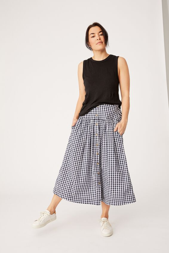 Florence Skirt, NAVY GINGHAM
