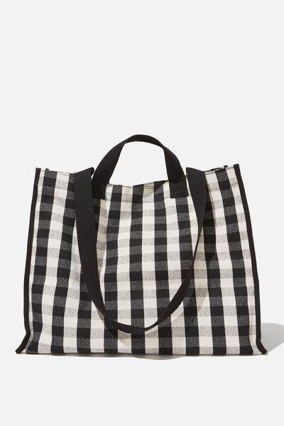 Oversized Gingham Tote Bag, BLACK WHITE GINGHAM