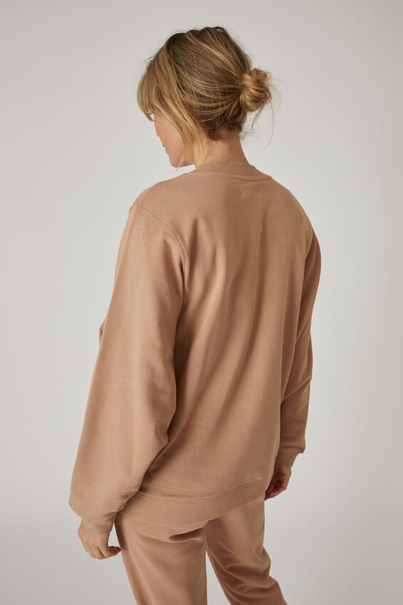 Organic Oversized Mock Neck Sweat, CAMEL
