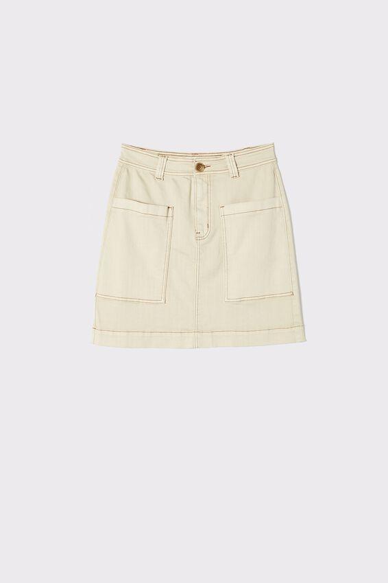 Square Pocket Denim Mini Skirt, ECRU