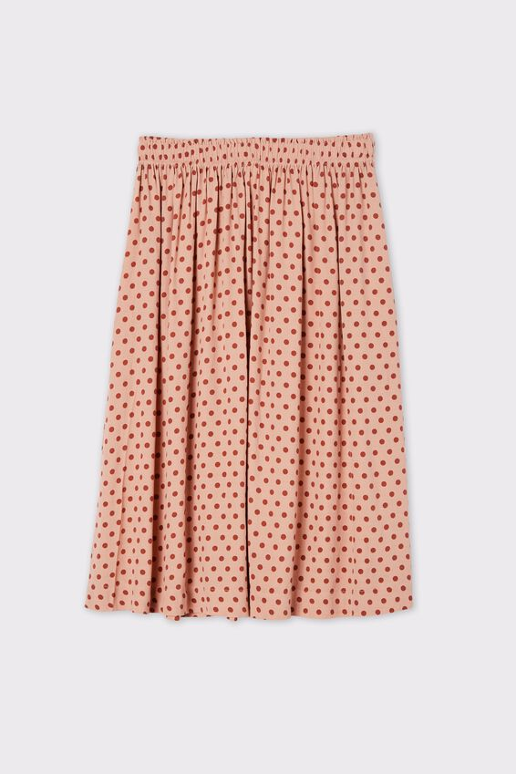 Trash To Treasured X Midi Skirt, TAN SPOT