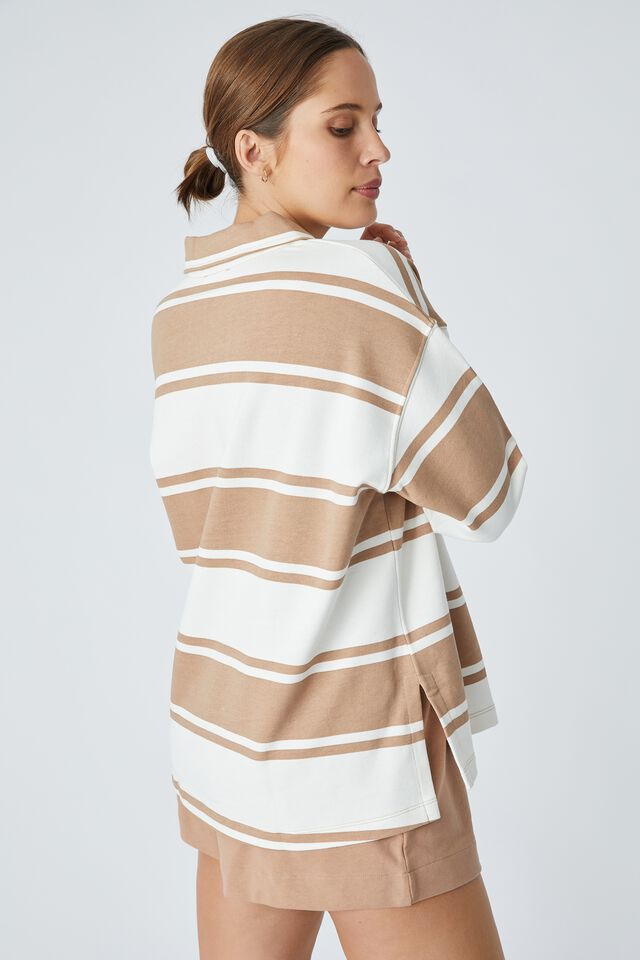 Organic Oversized Rugby Top, HERITAGE CAMEL WHITE STRIPE