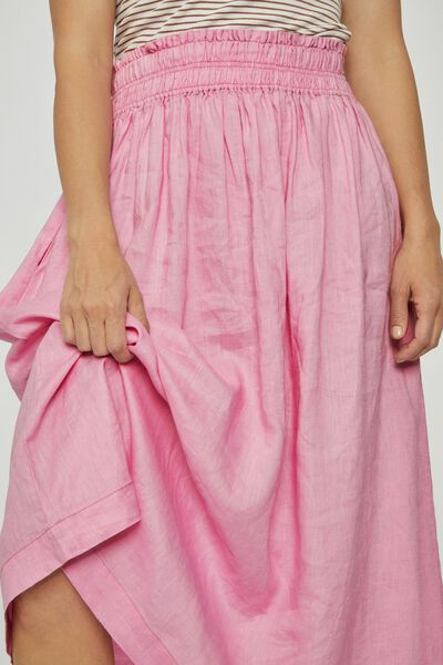 Linen Midi Skirt, FAIRY FLOSS PINK
