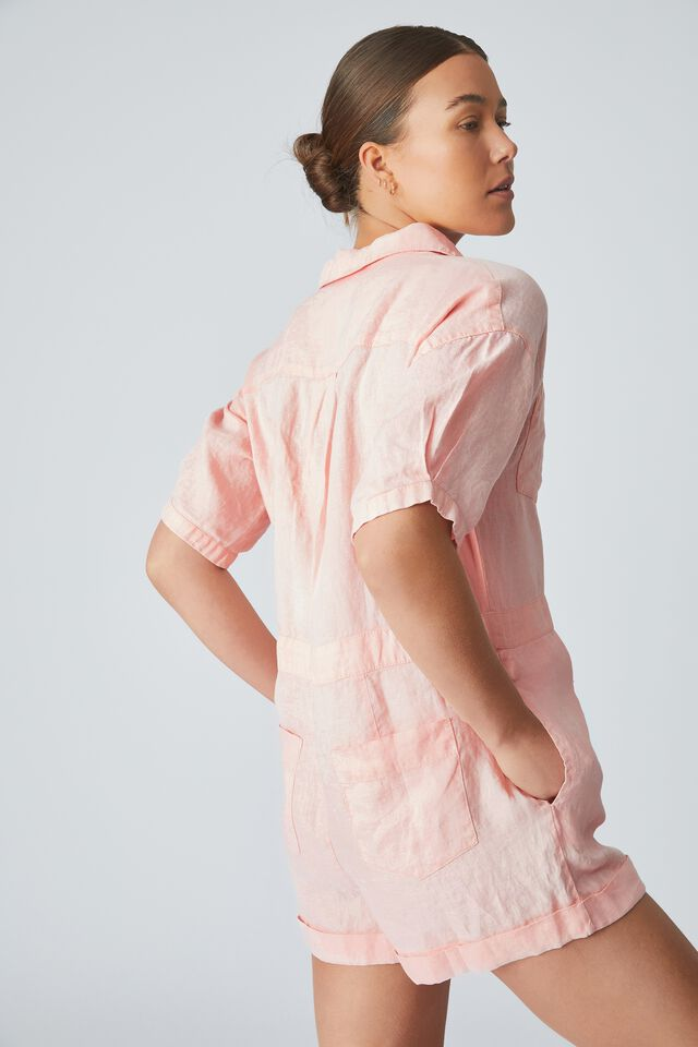 Linen Short Jumpsuit, MELON