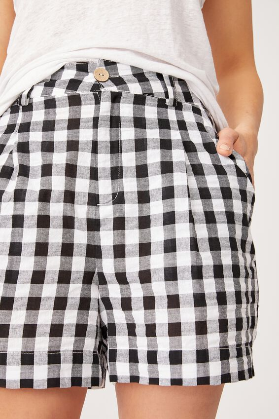 Gingham Short, BLACK TEXTURED GINGHAM