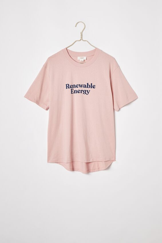 The Organic Daily Print Tee, MUSK PINK/RENEWABLE ENERGY