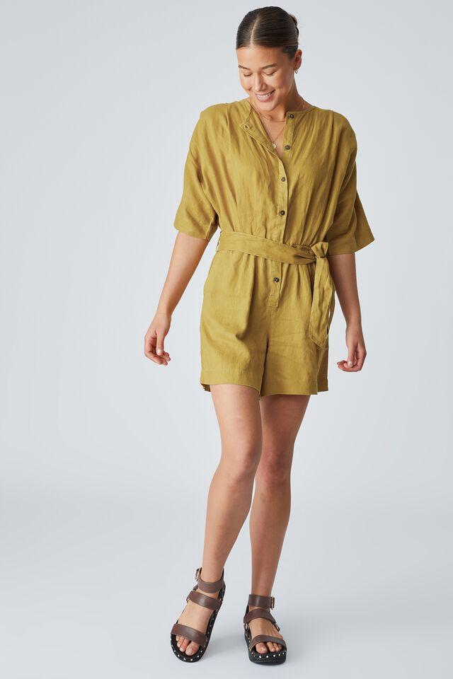 Linen Short Jumpsuit, golden sun