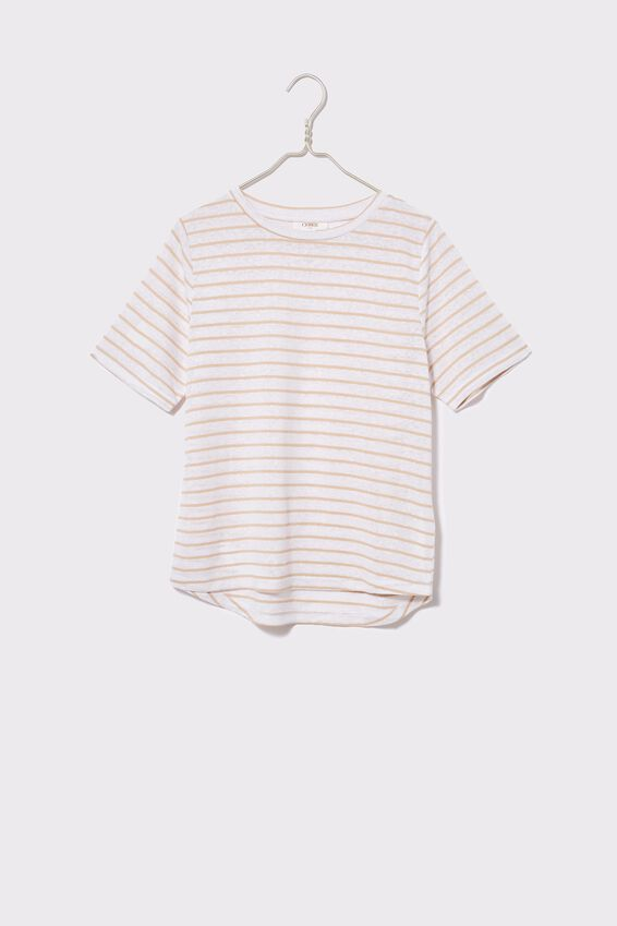Linen Weekend Tee, WHITE/PEBBLE STRIPE