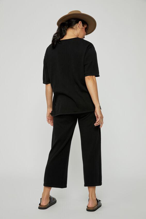 Organic Cotton Knit Pant, BLACK
