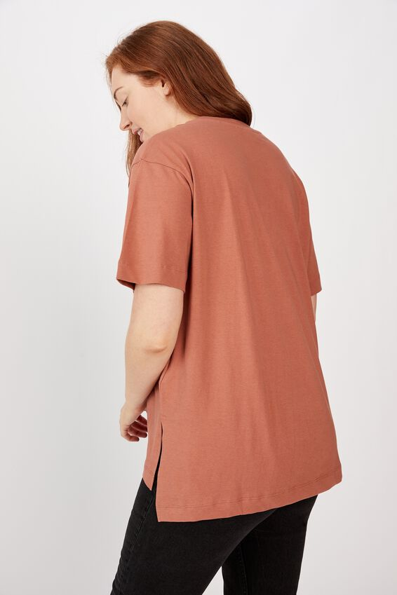 Organic Oversized Daily Step Hem Tee, RUST