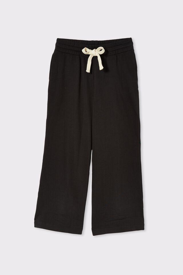 Organic Cropped Wide Leg Trackpant, BLACK