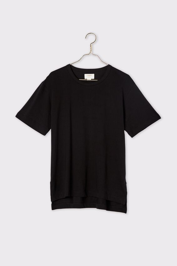 Organic Oversized Daily Step Hem Tee, BLACK