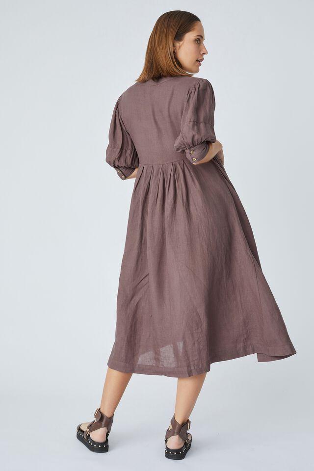 Linen Wrap Midi Dress, BITTER CHOC