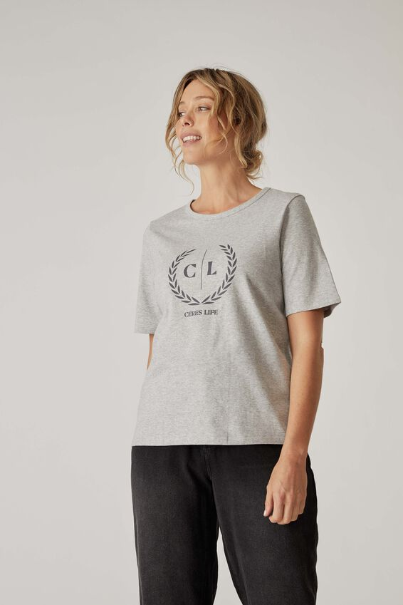 Organic Daily Print Tee, GREY MARLE CL CREST