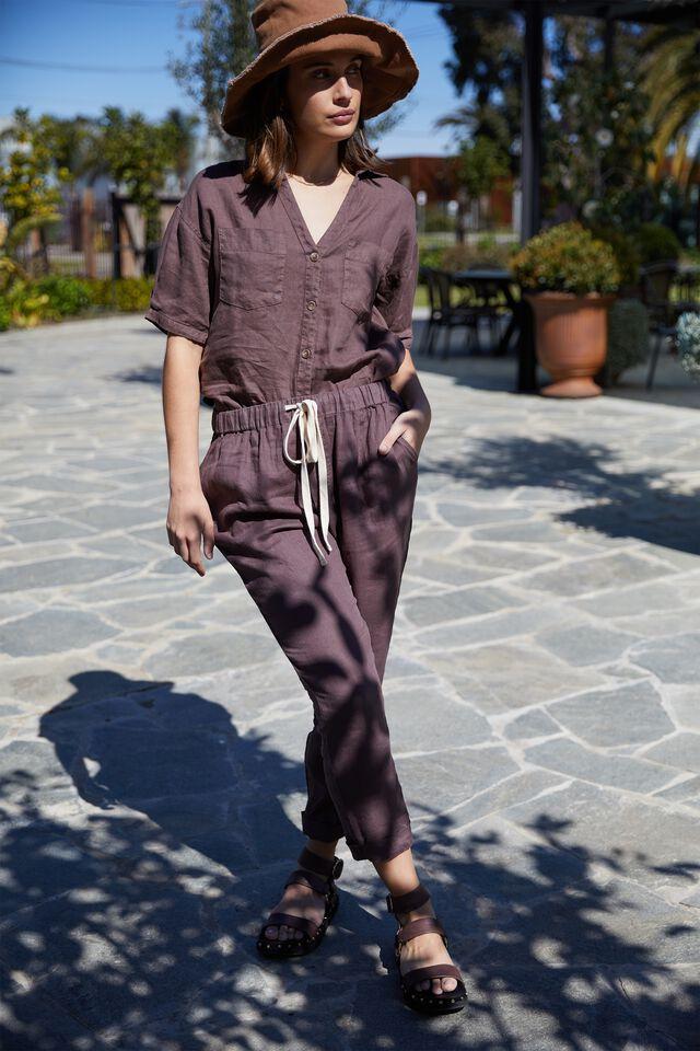 Linen Pant, BITTER CHOC