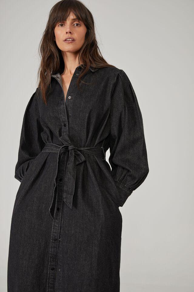 Talisman Shirt Dress, BLACK