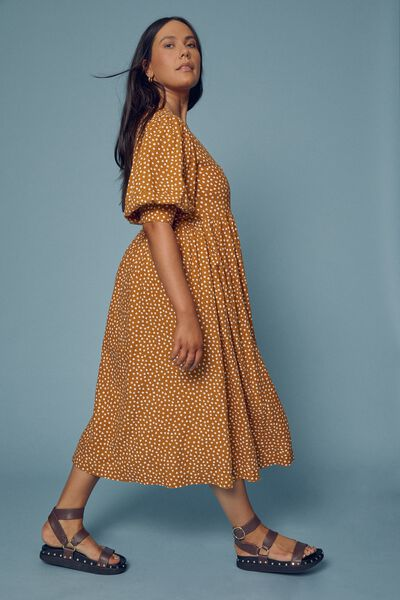 Gathered Wrap Dress In Rescued Fabric, TOBACCO FLORAL