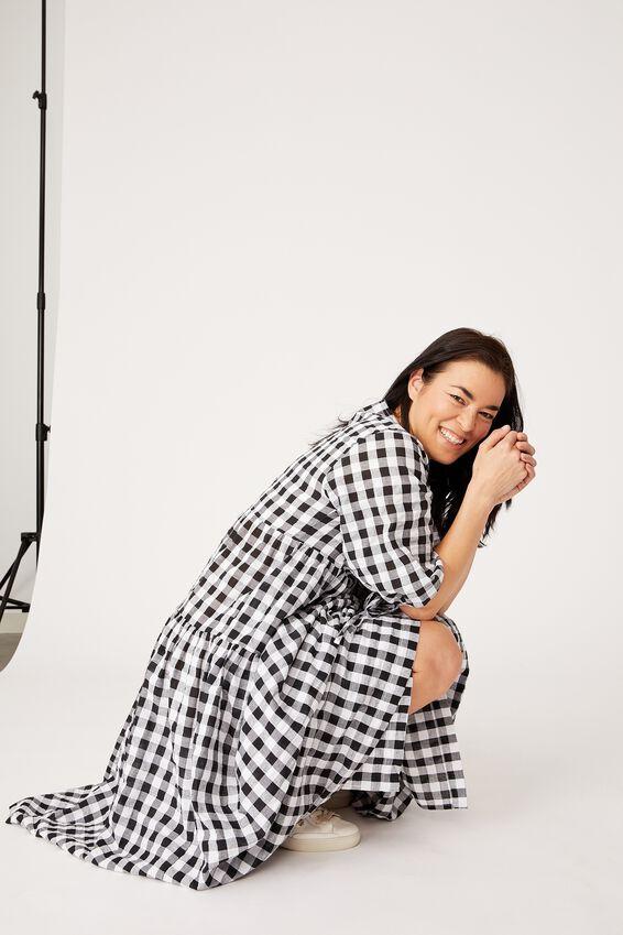 Gingham Picnic Dress, BLACK & WHITE