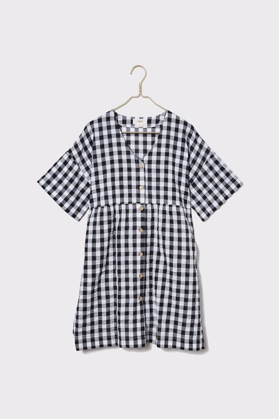 Gingham Babydoll Dress, BLACK & WHITE
