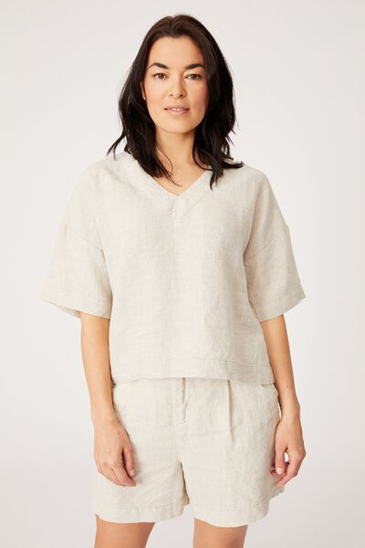 Relaxed Linen Tee, PEBBLE