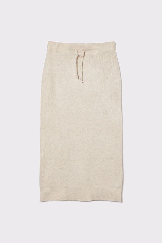 Soft Knit Skirt, OATMEAL MARLE