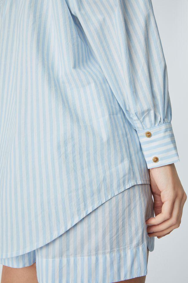 Oversized Gathered Shirt In Organic Poplin, CHALK BLUE STRIPE