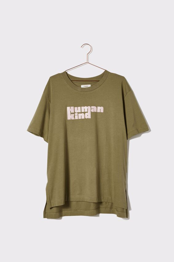 Organic Oversized Daily Printed Step Hem Tee, DILL/HUMAN KIND
