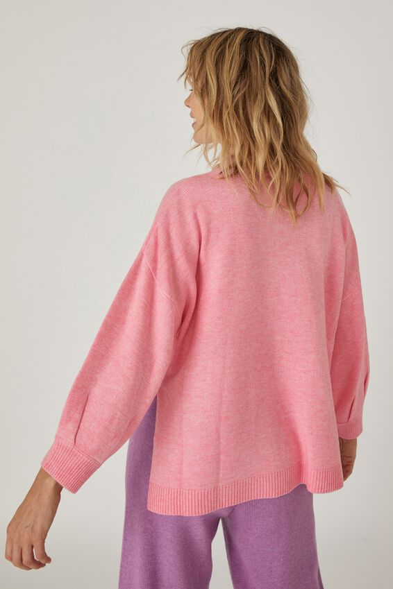 Soft Oversized Split Hem Jumper, PALE PINK MARLE