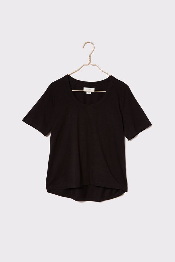 Organic U Neck Daily Tee, BLACK